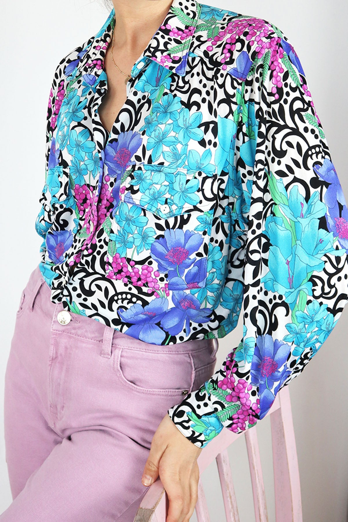 Colorful Italian Vintage Blouse