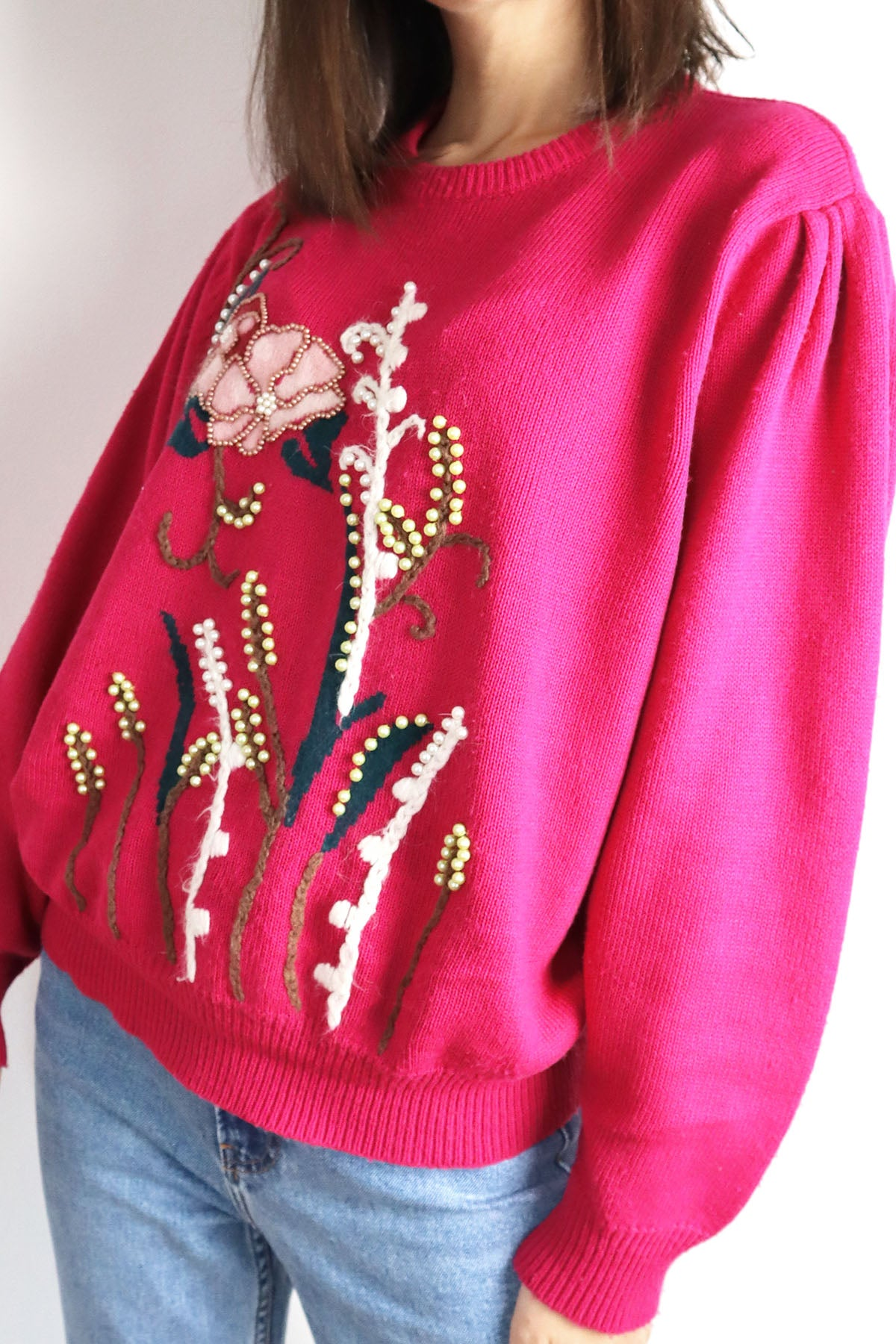 Vintage Pullover With Pearl Embroidery