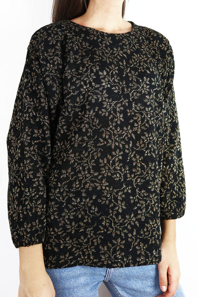 French Vintage Pullover With Lurex Flowers