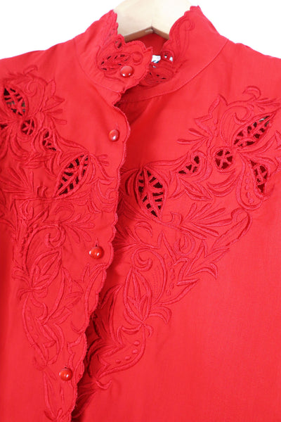 Red Vintage Blouse With Broderie Anglaise
