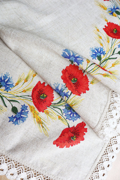 Vintage Tablecloth With Poppy Flowers