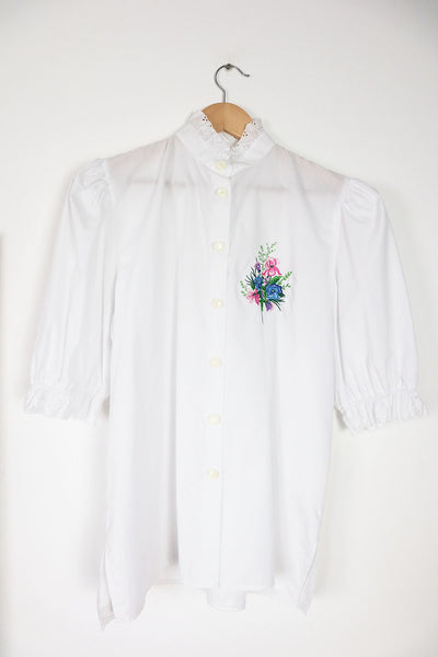 Vintage Folk Blouse With Floral Embroidery