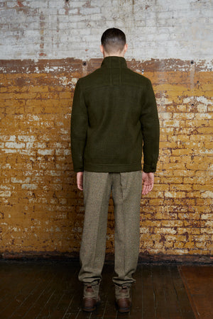 Odd Natives, The 'Artisan' olive green mohair/wool blend jacket. Fully lined with gunmetal hardware. Made in New York City.  Complimentary Shipping.