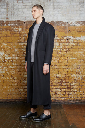 Odd Natives, The 'Bedford' overcoat is made of black double-faced Italian wool imported from Italy, with leather detailing down the back of coat.  Fully lined with matte black buttons. Made in New York City.  Complimentary Shipping.
