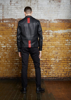 Odd Natives, The 'Rebel' leather moto jacket is made of black calf leather and red lambskin leather imported from Italy and made in New York City.  Gunmetal hardware.  Mens plus size leather jacket available. Complementary shipping available.