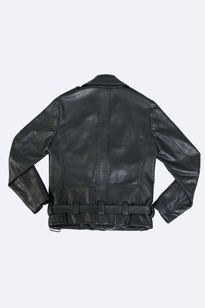 Odd Natives, The 'Maverick' motorcycle jacket is constructed from embossed and smooth cowhide leather imported from Italy and made in New York City. Features matte black snaps and gunmetal hardware, fully lined. Complementary Shipping included.