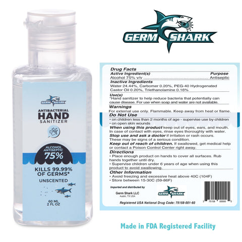 40 BOTTLES - Germ Shark Hand Sanitizer Travel Size Single - 60ml 75% Ethyl Alcohol