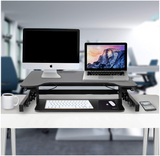 Standing Desk BLOWOUT PRICE - 100% Pre-Assembled & Adjustable - Fits 2 Monitors with a Keyboard Tray.