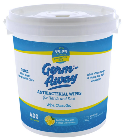 Germ-Away Antibacterial Hands Wipes, 400 Count Dispensing Bucket
