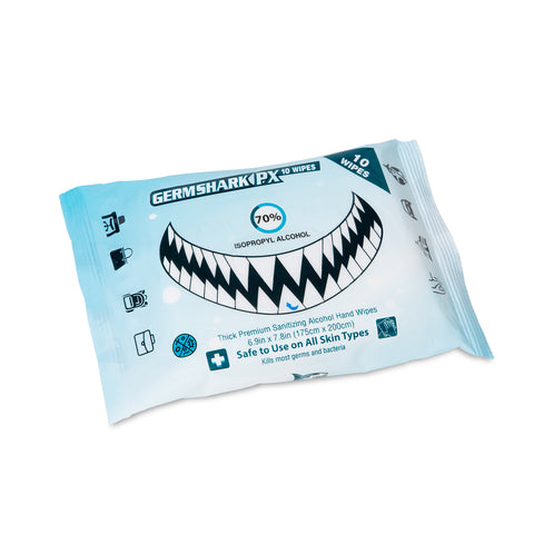 Germ Shark PX10 Sanitizing Wipes - 70% Alcohol, 10 Pack (Single)