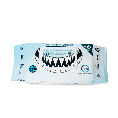 Germ Shark PX50 Sanitizing Wipes - 70% Alcohol, 50 Pack (Single)