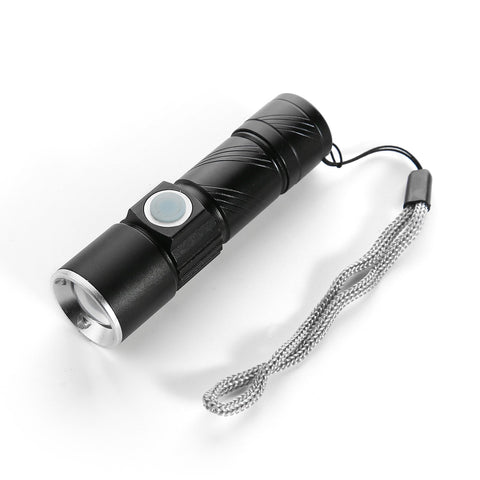 Flashlight LED USB Rechargeable Never Needs Batteries! - Black