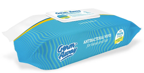 Germ-Away Antibacterial Hand & Face Wipes 72 count Soft Pack