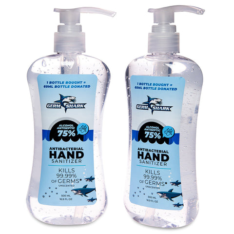 Germ Shark Hand Sanitizer Pump 2 Pack - 75% Ethyl Alcohol 500ml