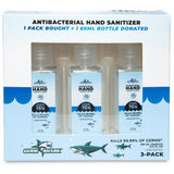 Germ Shark Hand Sanitizer Travel Size 3 Pack - 60ml 75% Ethyl Alcohol
