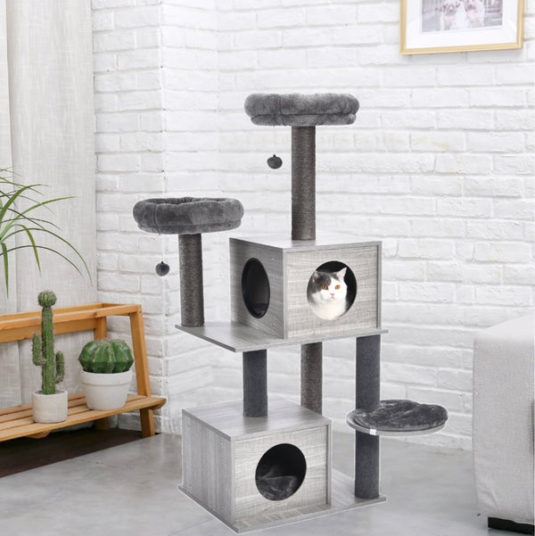 Cat Toy Scratching Wood Climbing Tree with Ladder