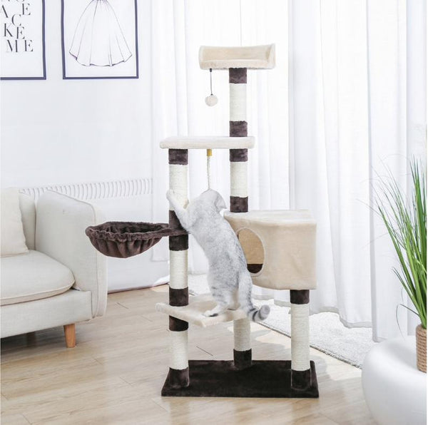Cat Tree Condo Scratcher Post Kitty Play House with Hammock Perches Platform