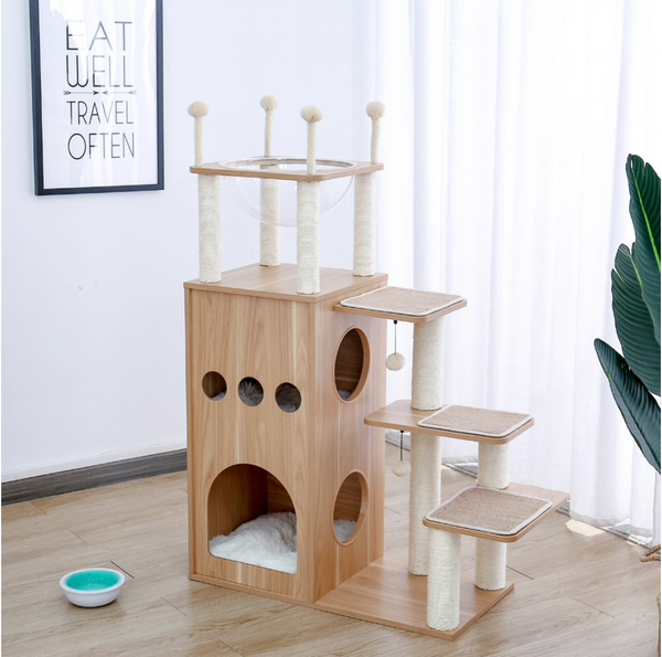 Cat Jumping Toy with Ladder,  modern wood cat tower