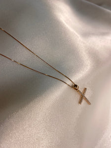 Yellow Gold Cubic Cross & Chain