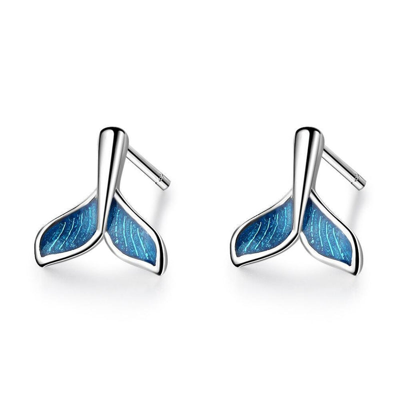 Blue Whale Tail Earrings-Atolea Jewelry