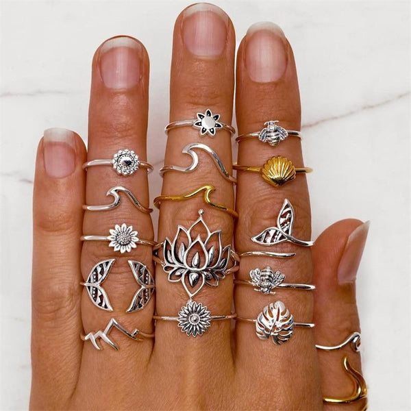 """Coachella"" 15 Rings Set-Atolea Jewelry"