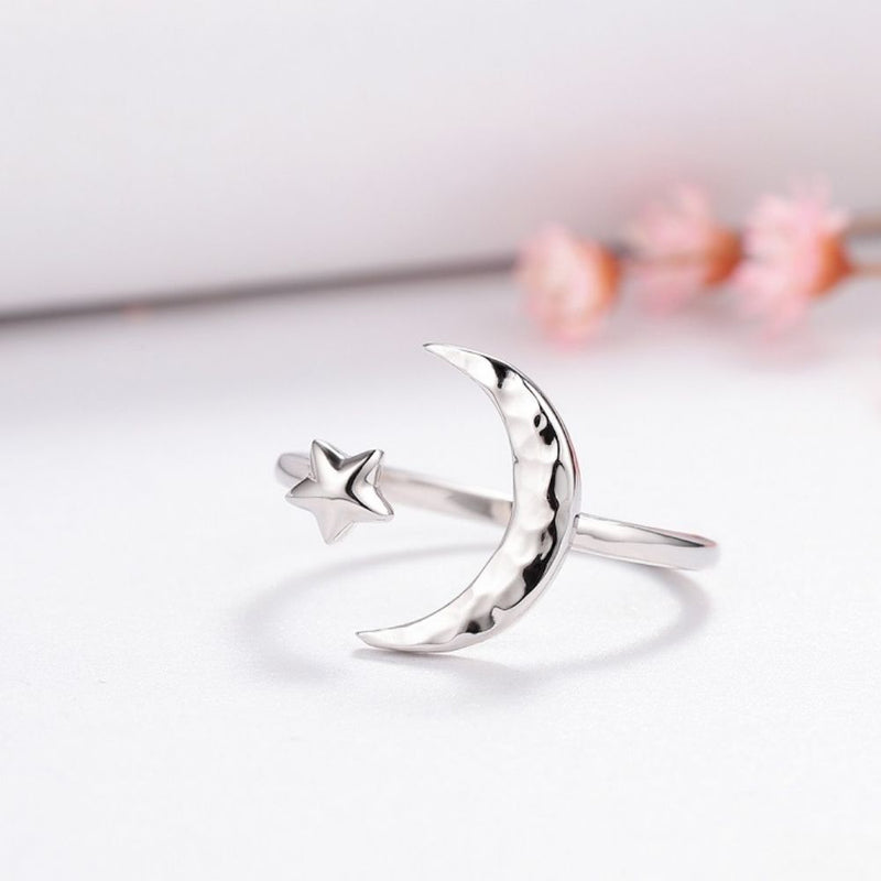 Silver Crescent Moon And Star Ring