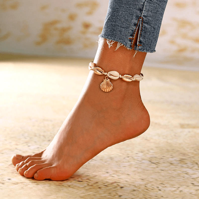 Gold Sea Shell Anklet-Atolea Jewelry