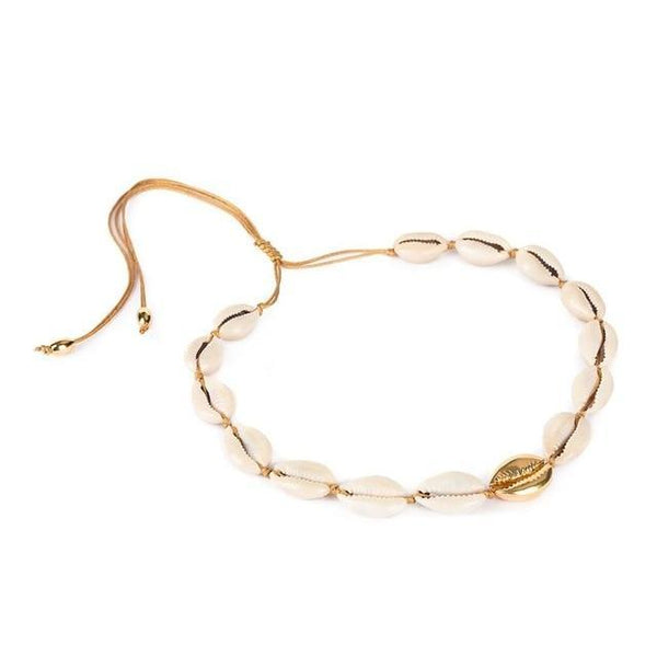 Gold Shell Choker Necklace-Atolea Jewelry