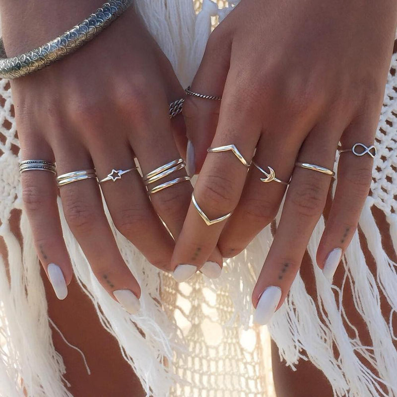 """Tulum"" 12 Rings Set-Atolea Jewelry"