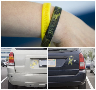 Support Bracelets and Bumper Stickers