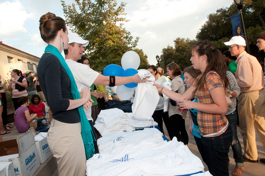 Handing Out T-shirts