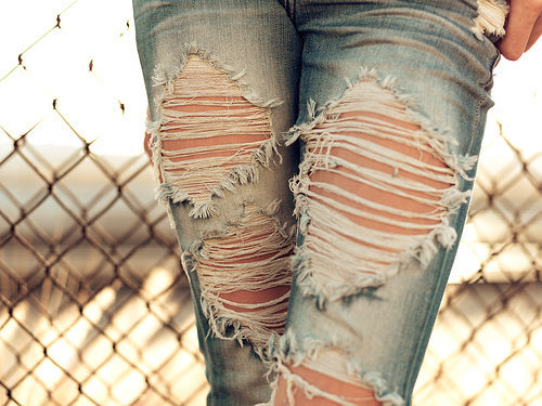 Ripped Jeans Casual Clothing