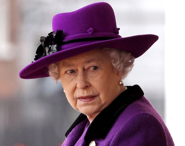 Queen Elizabeth in Purple Dress and Hat