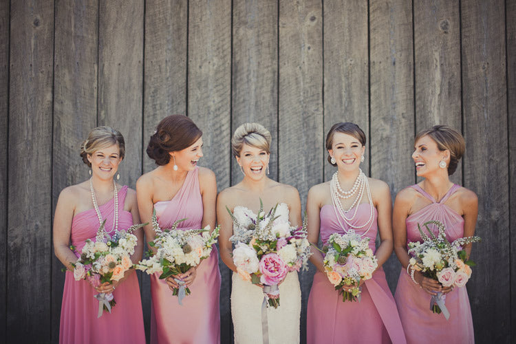 Brides Maids in pink Dresses