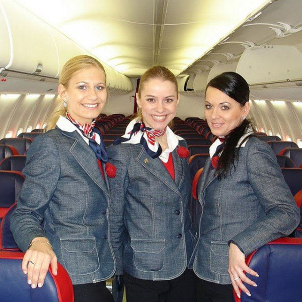 Stewardesses from Slovakia's Sky Europe