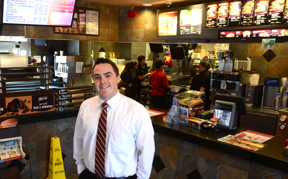 Fast Food Manager in Dress Shirt and Tie