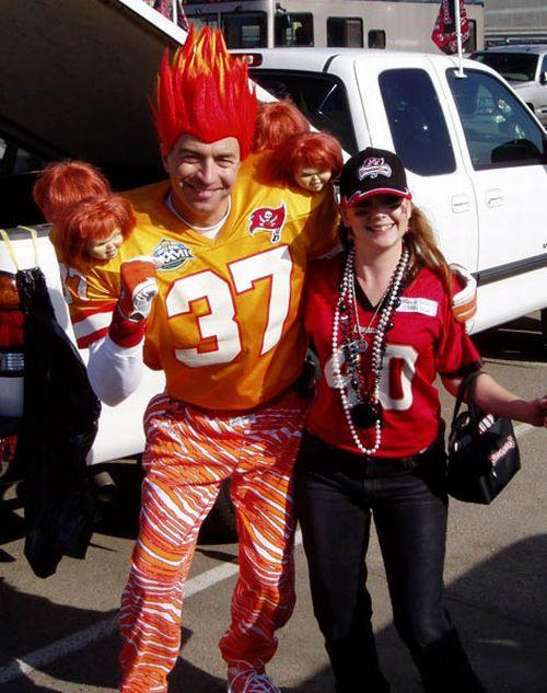 Man and Woman in Sports Jerseys