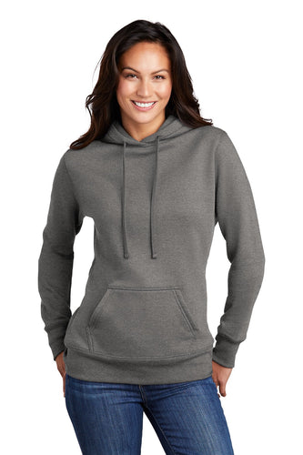Port & Company Ladies Core Fleece Pullover Hooded Sweatshirt LPC78H Graphite Heather