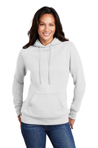 Port & Company Ladies Core Fleece Pullover Hooded Sweatshirt LPC78H White