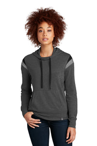 New Era Ladies Heritage Blend Varsity Hoodie LNEA108 Black Heather/ Black/ Shadow Grey Heather