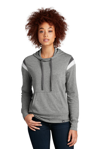New Era Ladies Heritage Blend Varsity Hoodie LNEA108 Shadow Grey Heather/ Graphite/ White