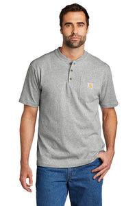 Carhartt Short Sleeve Henley T-Shirt CTK84 Heather Grey