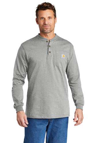 Carhartt Long Sleeve Henley T-Shirt CTK128 Heather Grey