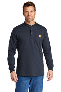 Carhartt Long Sleeve Henley T-Shirt CTK128 Navy