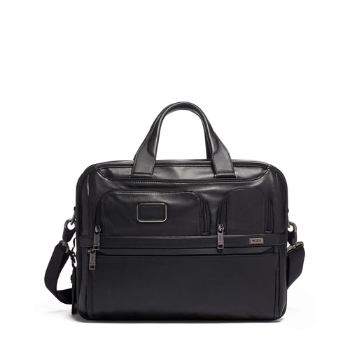 Tumi Expandable Organizer Laptop Brief Leather 1173211041 Black Leather