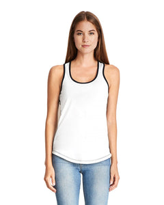 Next Levelladies Ideal Colorblock Racerback Tank 1534 White Black