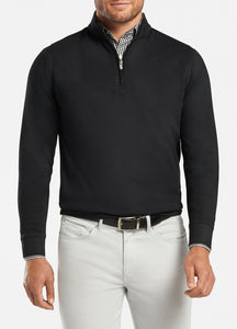 peter millar black ME0K40 crown comfort interlock quarter zip with custom logo pullovers