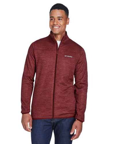 columbia birch woods ii full zip fleece jacket 1807681 red element hthr
