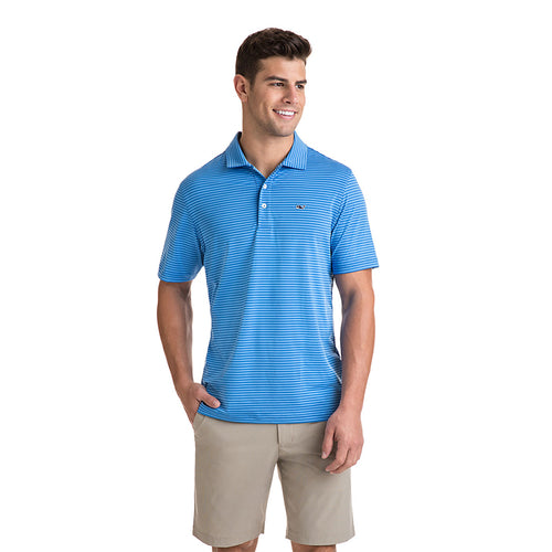 Vineyard Vines Men's Kennedy Stripe Sankaty Performance Polo 1K1083 Blue