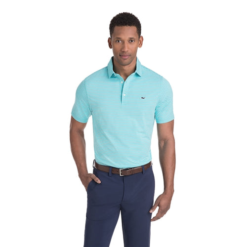 Vineyard Vines Men's Heathered Wilson Stripe Sankaty Performance Polo 1K2202 Turqs